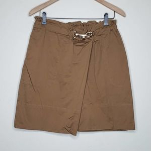 Lands End Brown Paperbag Waist Buckle Wrap Skirt